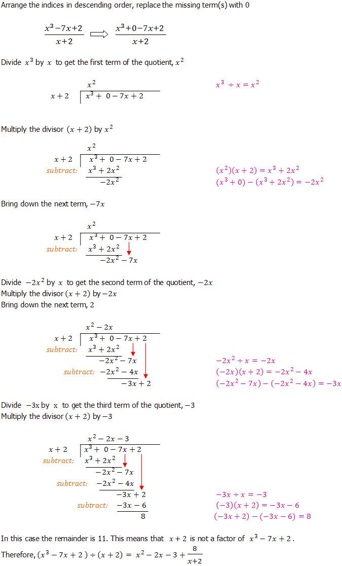 Algebraic Long Division An Introduction Dividing Polynominals