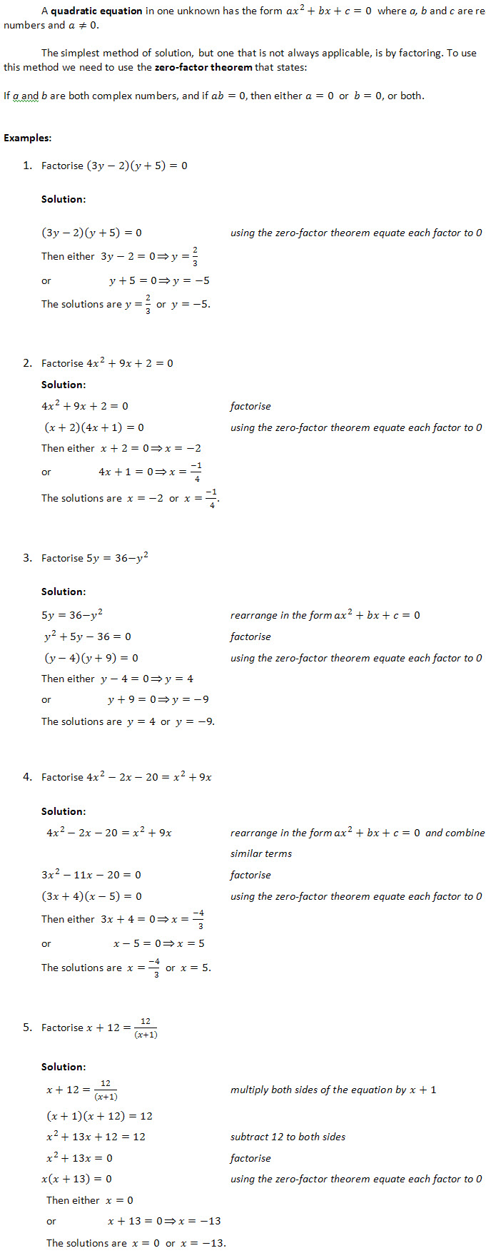 Factorising Quadratic Equations - Questions and Worked Solutions ...