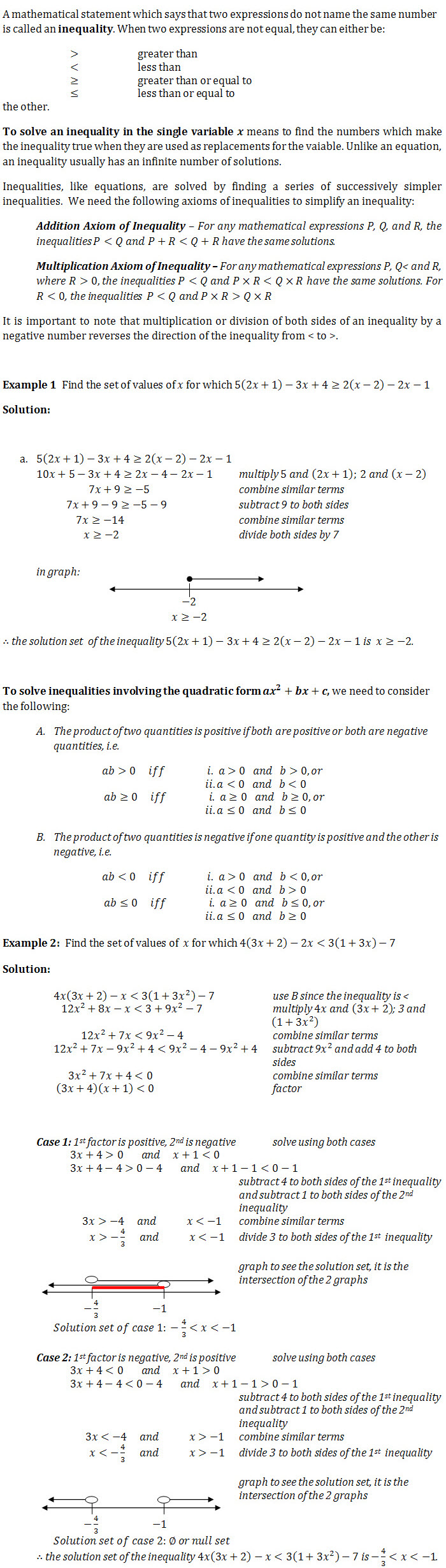 Linear And Quadratic Ininequalities Questions And Worked Solutions