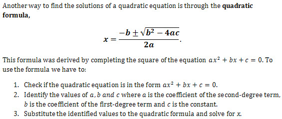 the quadratic formula questions and worked solutions laerd